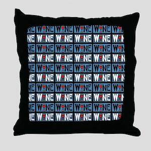 Wine Glass Text Pattern Throw Pillow