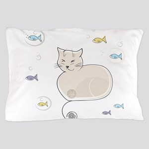 Cat and Fish Pillow Case