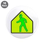 "Alien Crossing 3.5"" Button (10 pack)"