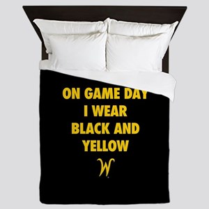 Wichita State On Game Day I Wear Black Queen Duvet