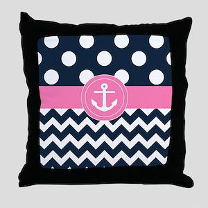 Navy Pink Anchor Throw Pillow