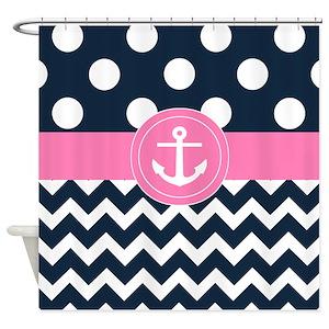 Pink Navy Chevron Shower Curtains