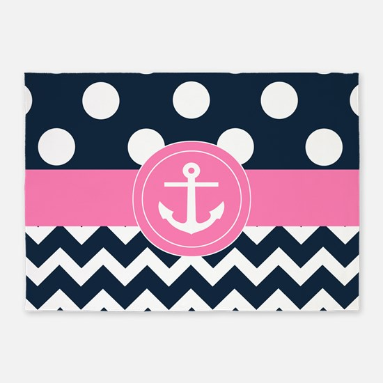 Navy Pink Anchor 5'x7'Area Rug