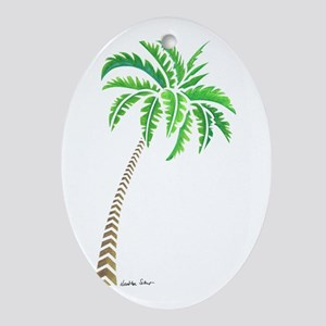 Tribal Coconut Palm Tree Oval Ornament