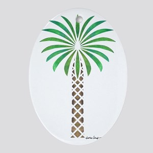 Tribal Canary Date Palm Tree Oval Ornament