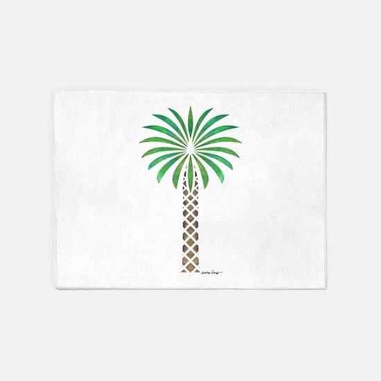 Tribal Canary Date Palm Tree 5'x7'Area Rug