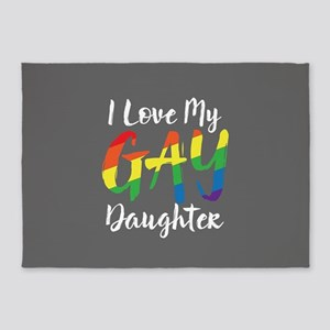 I Love My Gay Daughter Full Bleed 5'x7'Area Rug