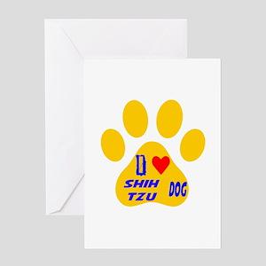 I Love Shih Tzu Dog Greeting Card