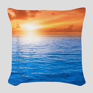 Ocean Sunset Woven Throw Pillow