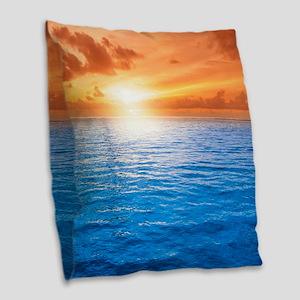 Ocean Sunset Burlap Throw Pillow