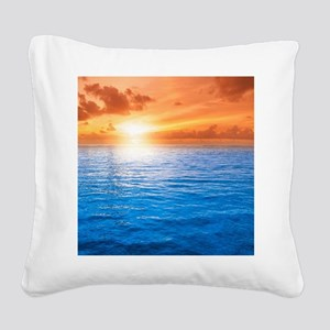 Ocean Sunset Square Canvas Pillow