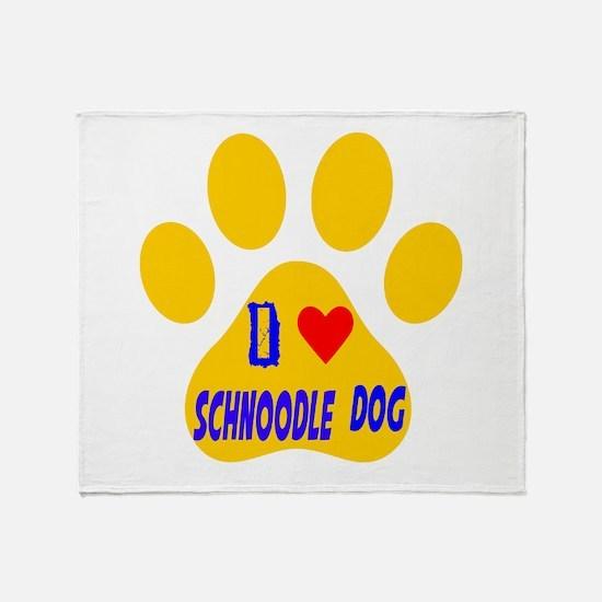 I Love Schnoodle Dog Throw Blanket