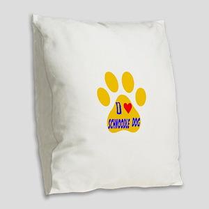 I Love Schnoodle Dog Burlap Throw Pillow