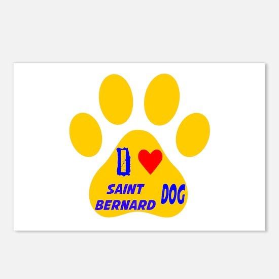I Love Saint Bernard Dog Postcards (Package of 8)