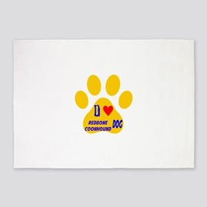 I Love Redbone Coonhound Dog 5'x7'Area Rug