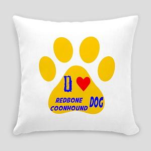I Love Redbone Coonhound Dog Everyday Pillow