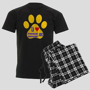 I Love Pyrenean Shepherd Dog Men's Dark Pajamas