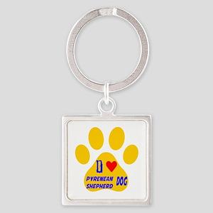 I Love Pyrenean Shepherd Dog Square Keychain