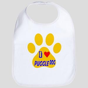 I Love Puggle Dog Bib