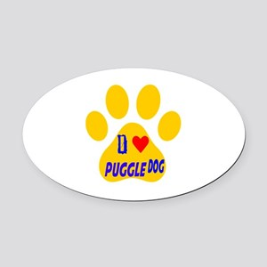 I Love Puggle Dog Oval Car Magnet