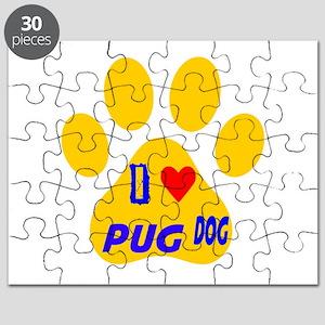 I Love Pug Dog Puzzle