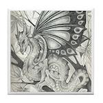 Fairy Dragon Drawing Tile Coaster