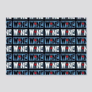 Wine Glass Text Pattern 5'x7'Area Rug