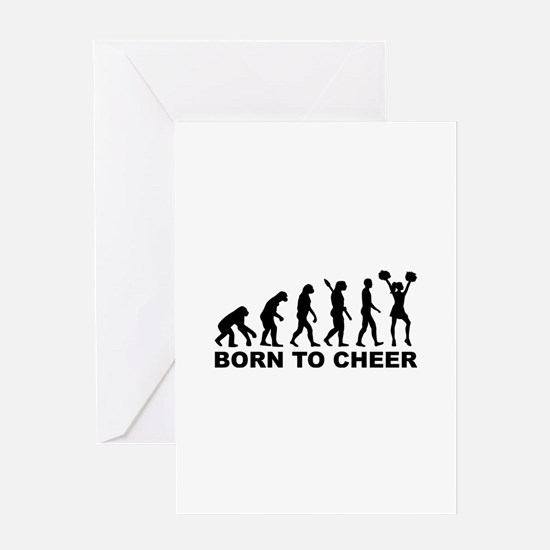 Evolution cheerleading born to cheer Greeting Card