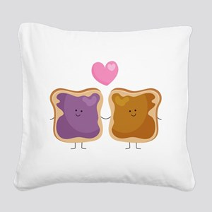 Peanut Butter Loves Jelly Square Canvas Pillow