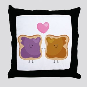 Peanut Butter Loves Jelly Throw Pillow