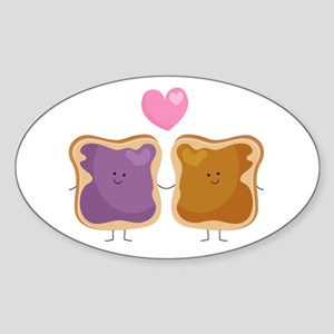 Peanut Butter Loves Jelly Sticker (oval)