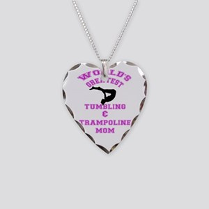 Tumbling and Trampoline Mom Necklace Heart Charm
