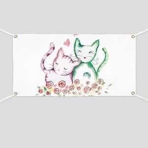 Cats In Love Watercolor Banner