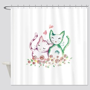 Cats In Love Watercolor Shower Curtain