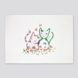 Cats In Love Watercolor 5'x7'Area Rug