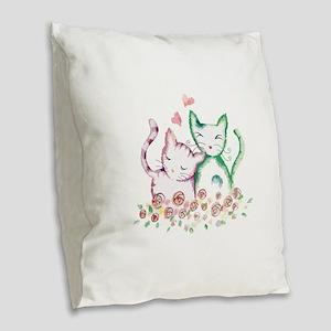 Cats In Love Watercolor Burlap Throw Pillow