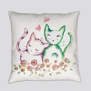 Cats In Love Watercolor Everyday Pillow