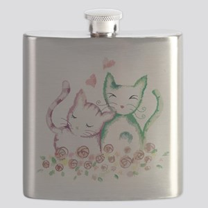 Cats In Love Watercolor Flask