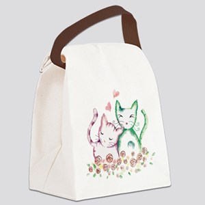Cats In Love Watercolor Canvas Lunch Bag