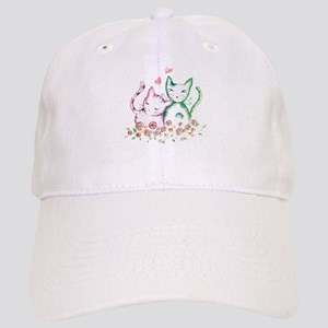 Cats In Love Watercolor Cap