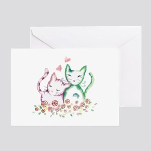 Cats In Love Watercolor Greeting Card