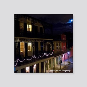 "French Quarter Full Moon Square Sticker 3"" X"