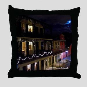 French Quarter Full Moon Throw Pillow