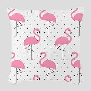 Cute Flamingo Woven Throw Pillow