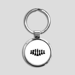 Chess game Round Keychain