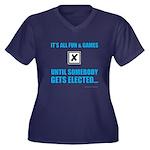 Fun&Games Women's Plus Size V-Neck Dark T-Shirt