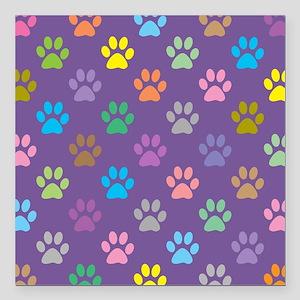 "Colorful paw prints patt Square Car Magnet 3"" x 3"""
