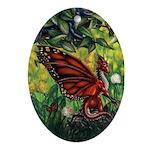 """Fairy Dragon"" Red Fairy Ornament Keepsake (Oval)"