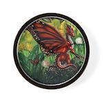"""Fairy Dragon"" Red Fairy Dragon Wall Clock"