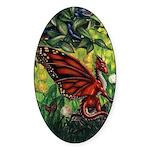 """Fairy Dragon"" Red Fairy Dragon Oval Sticker"